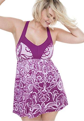 Swim 365 Women's Plus Size H-Back Empire Swimdress Magenta,26