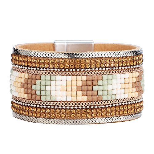Jocestyle Women Fashion Bracelet StyliSh Acrylic Alloy Magnetic Buckle Colored Jewelry Bangles for Lady Girls (Diamond Buckle Bangle)