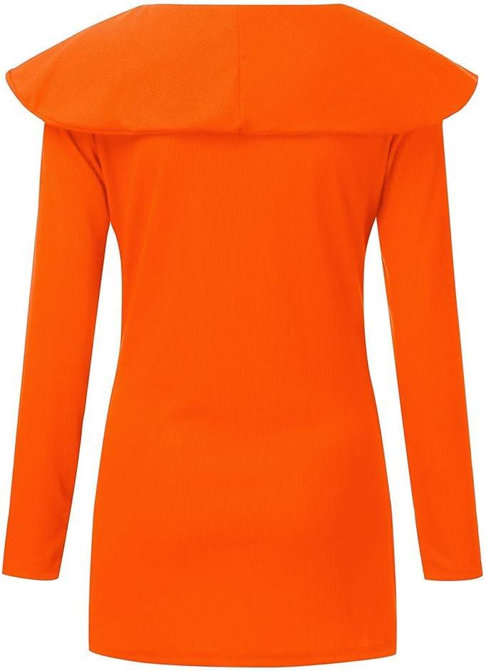 Lataw Women Tunics Fashion Tops Leisure Long Sleeve Ruffled O-Neck Solid Print Button Stylish Blouse Costume Clothes Shirts