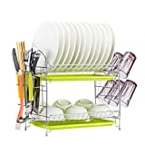 Dish Drying Rack Kitchen. Updated Version 2 Tier Dish Drainer Rack 19 inch Buckle Type Installation not Need Nuts Double Draining Tray Design Effectively Prevent Cross-Contamination.