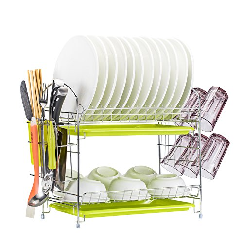 Dish Drying Rack Kitchen. Updated Version 2 Tier Dish Drainer Rack 19 inch Buckle Type Installation not Need Nuts Double Draining Tray Design Effectively Prevent Cross-Contamination. by WORTOOL (Image #6)