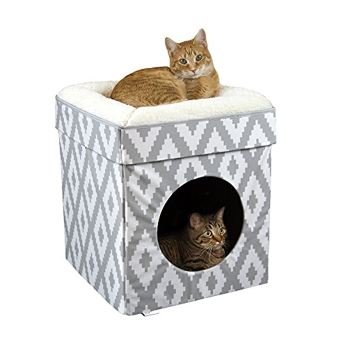 Kitty City Large Cat Bed, Cat Cube, Cat House/Cat Condo, Pop Up Bed, Stackable Bed (Two Cat House Level)