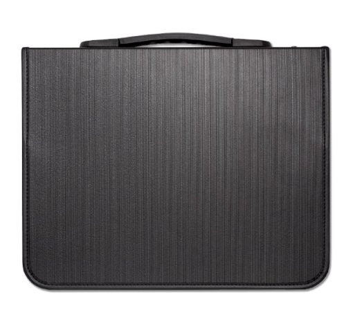 Prat Start Premium Presentation Case, Ribbed Cover and Spine-Mounted Handle, Multi-Ring Binder with 10 Sheet Protectors, 17 X 14 inches, Black (SPR-2171) ()
