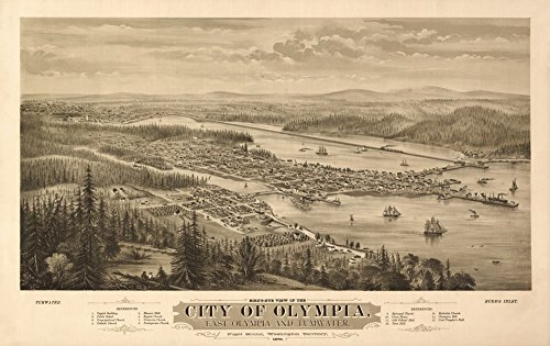 (Olympia, Washington Panoramic Map - 1879 (16x24 SIGNED Print Master Giclee Print w/ Certificate of Authenticity - Wall Decor Travel Poster))