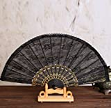 Black 5Pcs Plastic Black Religion Story Printing Spanish Style Folding Lace Hand Fan Dance Fans Party Supplies For Gift