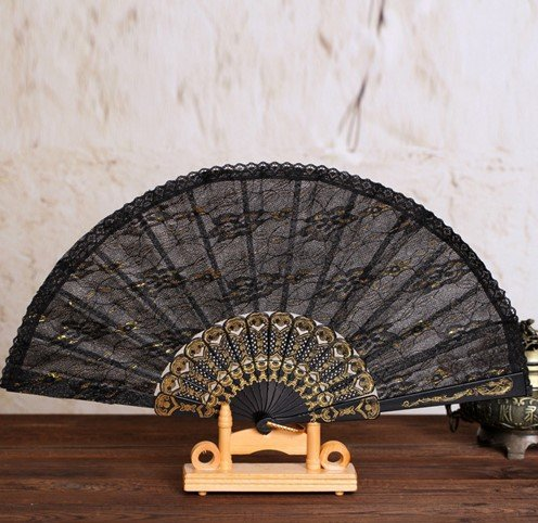 Black 5Pcs Plastic Black Religion Story Printing Spanish Style Folding Lace Hand Fan Dance Fans Party Supplies For Gift by Hand Fan