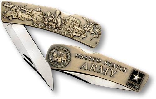 Army Lockback Knife - Large Bronze Antique
