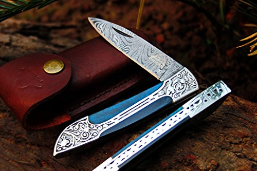 DKC Knives (14 5/18) DKC-37-BLH Victorian Damascus Folding Pocket Knife Blue Bone 7.75 Long, 4.5 Folded 3 Blade 4.8oz Hand Made Incredible Look and Feel