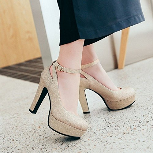 Zapatos Gold Alto Mujer Tacon de RAZAMAZA para 6xwqFg6fd