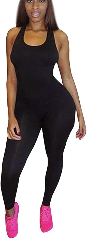 COPPEN Women Casual Sleeveless Bodycon Romper Jumpsuit Club Bodysuit Long Pants Black