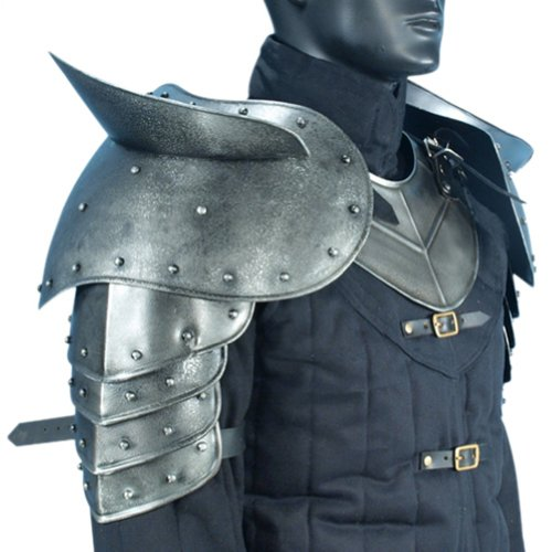 Armor Venue - Dark Warrior Pauldrons with Sword Breakers - Metallic - One Size Armour (Chest Plate Armor)