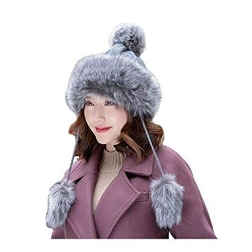 00e2b56203047 CJC Sombreros Mongol Invierno Mujer Ruso Cosaco Pompón Unisexo Trampero  Gorra (Color   Gray
