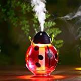Beatles Car Humidifier USB Powered with Sponge 0 Radiation Cool Mist Humidifier Automatic Shut-Off Humidifier and Optional Night Light for Car Mist and Baby Room Mist 260ml (Red)