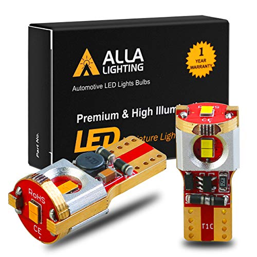 Alla Lighting Xtreme Super Bright 194 LED Amber Bulbs T10 Base ZES SMD LED 194 168 2825 W5W 194NA Bulb High Power 12V LED 194 Bulb Yellow Interior Map Dome Trunk Light Exterior Marker Lights(Set of 2)