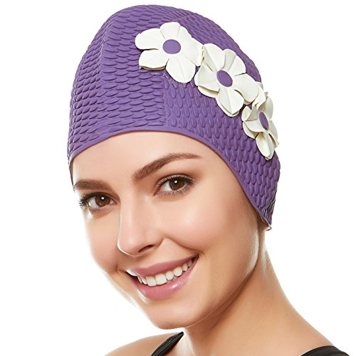Beemo Swim Bathing Caps for Woment & Girls - Lavendar with White Flowers -
