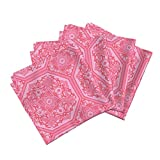 Tile Pink Bright Girl Persian Romantic Linen Cotton Dinner Napkins Persian Tile ~ Pink & by Peacoquettedesigns Set of 4 Dinner Napkins