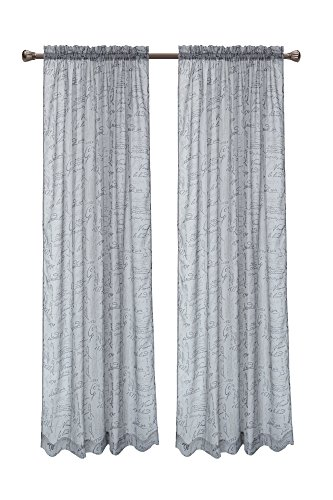 Linen French Design (Pack of 2, CaliTime French Script Faux Linen Soft Semi Sheers Rod Pocket Window Curtain Panels for Bedroom, 55