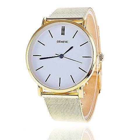 2015 New Famous Brand Silver Casual Geneva Quartz Watch Women Metal Mesh Stainless Steel Dress (Geneva Watches Men Gold)