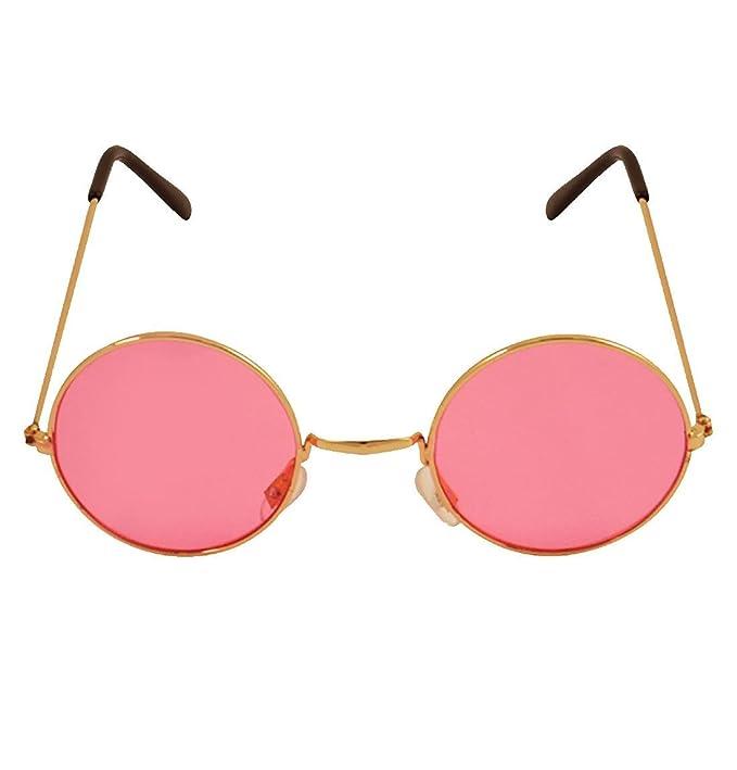Islander Fashions Adult Round Gold Frame Brille mit rosa Linsen ...