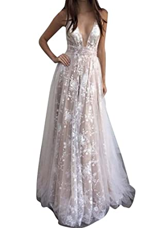 Anyu Womens Deep V Neck Lace Maxi Long Evening Prom Dress Party Dresses Ball Gown: Amazon.co.uk: Clothing