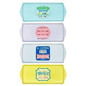 CAPRILO Set de 4 Bandejas Decorativas Alargadas de Plástico Frases Optimistas Menaje de Cocina. Vajillas. Regalos Originales Hogar. 2 x 38.5 x 16.5 cm.