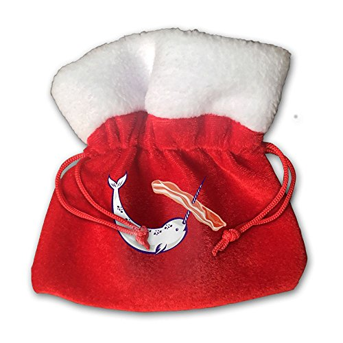 Narwhal One Bacon Christmas Bags Candy Bags Santa Present Drawstring For Party Sack Gifts (Bacon Birthday Party Supplies)