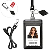 Lanyard Wallet with Genuine Leather Badge Holder with 1 ID Window & 2 Back Card Pockets. 17.5'' PU Leather Neck Strap. Carabiner Keychain Flashlight with Key Ring. Vertical Style. Black Color