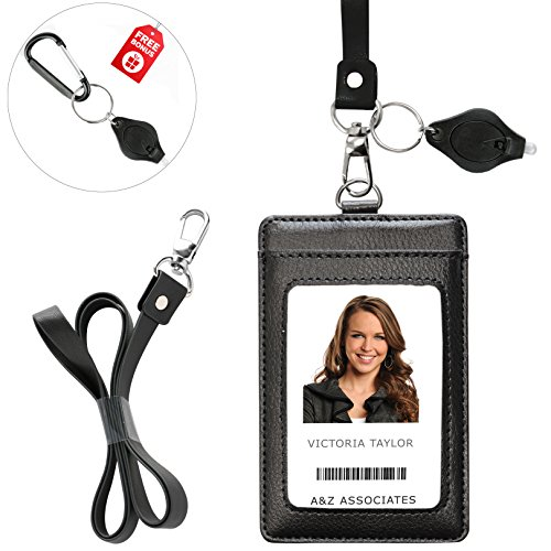 - Lanyard Wallet with Genuine Leather Badge Holder with 1 ID Window & 2 Back Card Pockets. 17.5'' PU Leather Neck Strap. Carabiner Keychain Flashlight with Key Ring. Vertical Style. Black Color