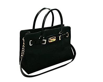 ce2a1ce3885ff Amazon.com  Michael Kors Hamilton Large East West Tote Shoulder Bag - Black  Leather Gold Hardware  Shoes