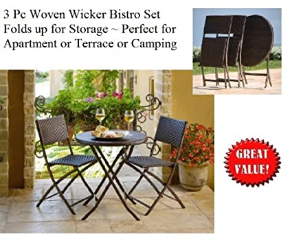 Folding Outdoor Woven Wicker 3 Pc Bistro Set Table U0026 Chairs For Apartment /  Terrace /