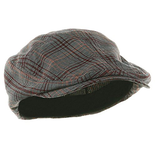 MG Men's Ivy Newsboy Cap Hat (Red Plaid, -