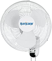 HURRICANE HGC736503 Wall Mount Fan 16 Inch, Classic Series, 90 Degree Oscillation 3 Speed Settings, Adjustable