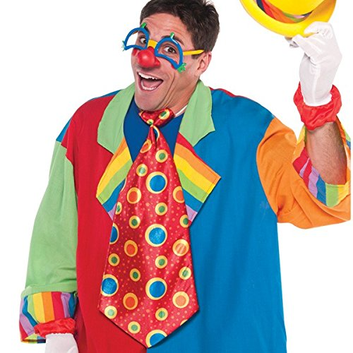 Goofy and Fun Costume Party Clown Jumbo Tie, Red/Blue, Fabric, 21