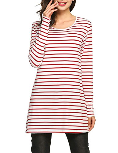 Goodfans Women Striped Long Sleeve Casual Blouse Long T-shirt Tops
