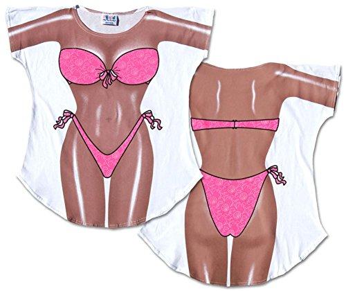 Hot Pink Bikini Cover-Up T-Shirt Size - Bikini Funny Shirt