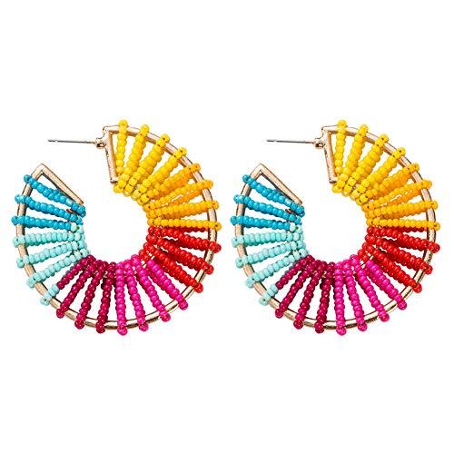 (J.Memi.FA Statement Drop Beaded Earrings with A Semi-Circular Pendant Handmade Dangle Hoop Bohemian Style Jewelry for Woman,F)