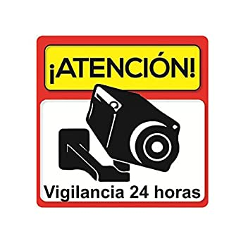 Pegatina disuasoria atención vigilancia 24 horas alarma conectada ☆ Vinilo decorativo ☆ Apto uso exterior ☆ Cartel camara vigilancia-seguridad ...