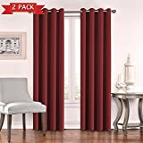 Flamingo P Window Treatment Thermal Insulated Solid Grommet Blackout Curtains/Drapes for Bedroom (Set of 2 Panels, 52 by 84 Inch, Cardinal Red) For Sale