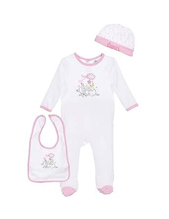 Bambi Set Pyjama, Bonnet et Bavoir bébé Fille Blanc Rose de 0 à 6mois f457fb50cf2