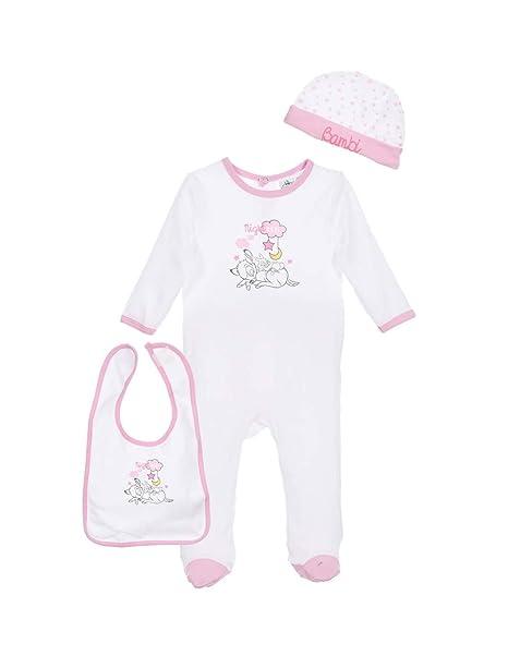 BAMBI - Pelele para Dormir - para bebé niña Rosa Blanco/Rosa
