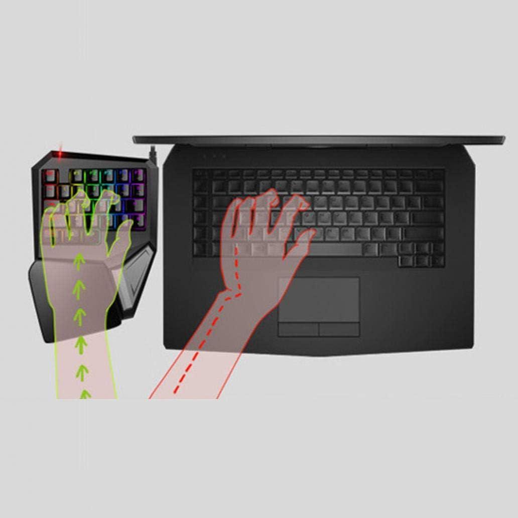 scgtpapadc USB Gaming Keyboard Wired Professional LED Backlit Ergonomic Laptop PC One-hand Gaming Keyboard