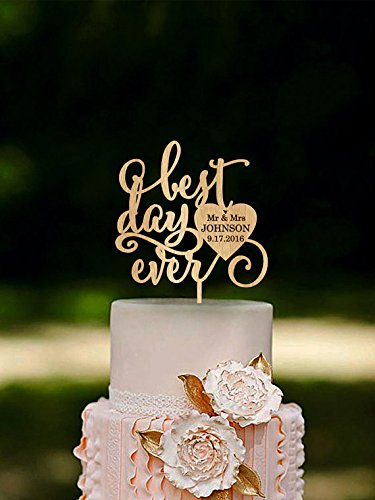 Engraved Happily Ever After Cake Topper Rustic Wedding Cake Toppers
