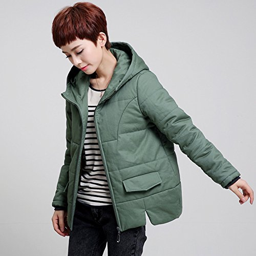 Xuanku Winter Clothing Cotton Clothing For Middle-Aged Women Solid Color Slimming Cotton Large Code Jacket Thick Warm Cotton Shirt With Short) green