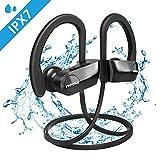 Mpow D7 Bluetooth Headphones Sport, 10H Playtime & IPX7 Waterproof Wireless Headphones Sport Earbuds W/Bass Stereo Sound, Running Headphones Bluetooth Earphones W/CVC 6.0 Noise Cancelling Mic-Black
