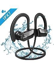 Mpow Auriculares Bluetooth IPX7, Inalámbricos In-Ear Cascos Deportivos con Micrófono Auricular Manos Libres Cancelación de Ruido CVC 6.0 para iPhone Android Estéreo(Negro con EVA Bolsa)