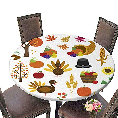 "Round Tablecloth Waterproof Polyester Table,Thanksgiving Clipart Tablecloth for Wedding/Party up to 39.5""-41.5"" Diameter"