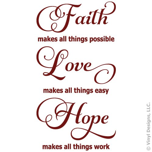 Faith Love Hope Quote Vinyl Wall Decal Sticker Art, Words Home Decor, Mural, Burgundy -