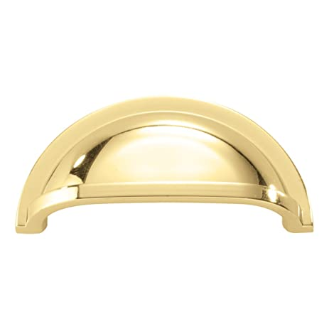 hickory hardware p3055pb cup cabinet pull 3inch polished brass