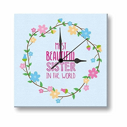 Giftsmate Glass Rakhi Wall Clock for Sister  10x10 Inches