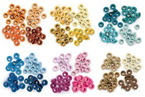 We R Memory Keepers - Standard Eyelets - Orange, Yellow, Aqua, Blue, Pink & Brown - 6 item - Eyelets Memory Keepers Wide